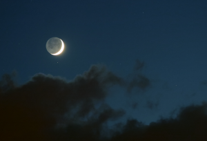 Crescent Moon, Earthshine & clouds