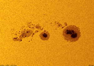Sunspot AR1944 through a white-light solar filter